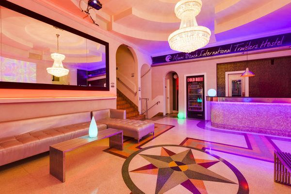 """If this place looks likea nightclub, that'sbecause it basically is: <a href=""""http://www.hostelmiamibeach.com/"""" ta"""