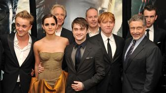 NEW YORK, NY - JULY 11:  (L-R) Tom Felton, Emma Watson, Alan Rickman, Daniel Radcliffe, David Yates, Rupert Grint, Barry M. Meyer and Matthew Lewis attend the New York premiere of 'Harry Potter And The Deathly Hallows: Part 2' at Avery Fisher Hall, Lincoln Center on July 11, 2011 in New York City.  (Photo by Stephen Lovekin/Getty Images)