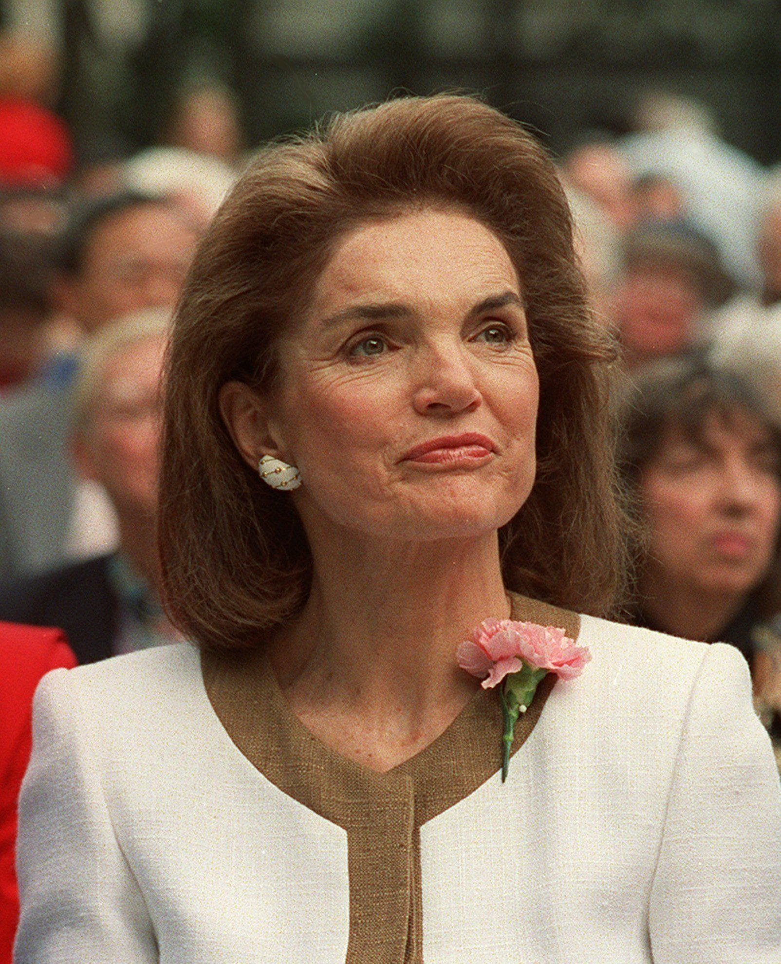 Jacqueline Kennedy Onassis is shown in New York in this 1992 photo. The frenzied four-day auction of Camelot souvenirs, White House history, and the glamour of Jacqueline Kennedy Onassis finally came to an end Friday night, April 26. 1996, taking in a total of $34.5 million.