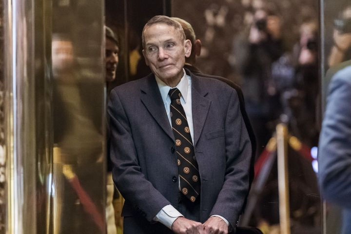 Physicist William Happer in an elevator in Manhattan's Trump Tower on Friday.