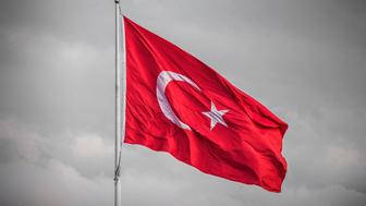 Turkey flag in the wind in Istanbul
