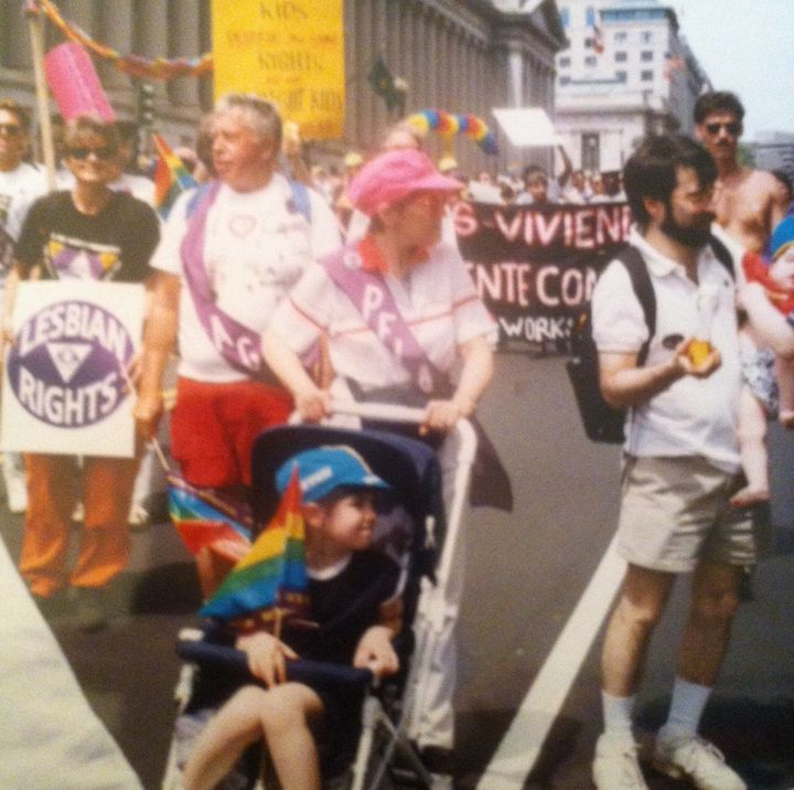 Me with my grandmother at an LGBTQ rights march in D.C. in 1993.