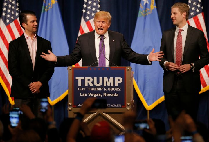 Trump said he put his sons,Donald Trump Jr. and Eric Trump, in charge of his business empire, and said he won't discuss