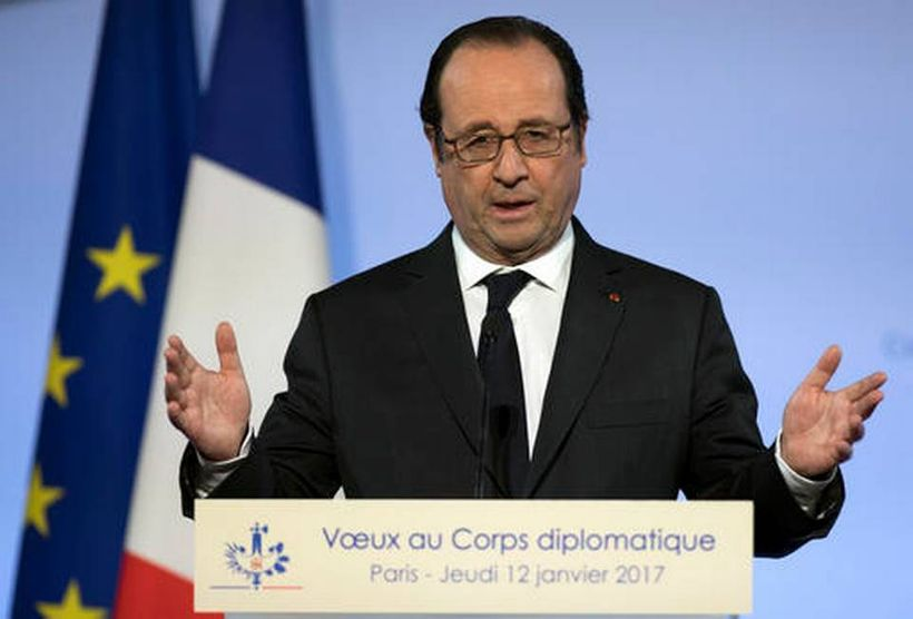 French president Francois Hollande delivers his new year address to diplomats, at the Elysee Palace in Paris, Thursday, Janua