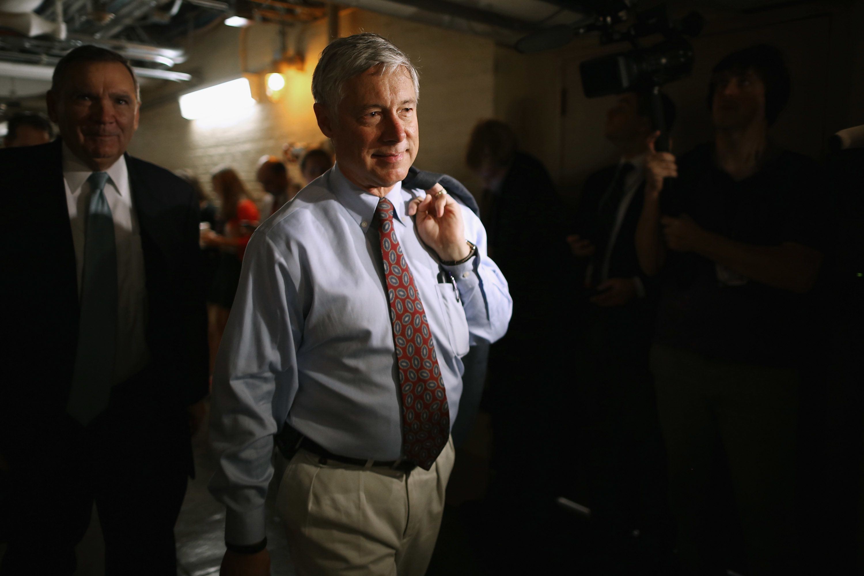 WASHINGTON, DC - OCTOBER 09:  House Energy and Commerce Committee Chairman Fred Upton (R-MI) heads for House Republican caucus meeting in the basement of the U.S. Capitol October 9, 2015 in Washington, DC. Speaker of the House John Boehner's (R-OH) plans to retire at the end of October have been thrown into question after Majority Leader Kevin McCarthy (R-CA) announced Thursday he was pulling out of the race for Speaker.  (Photo by Chip Somodevilla/Getty Images)