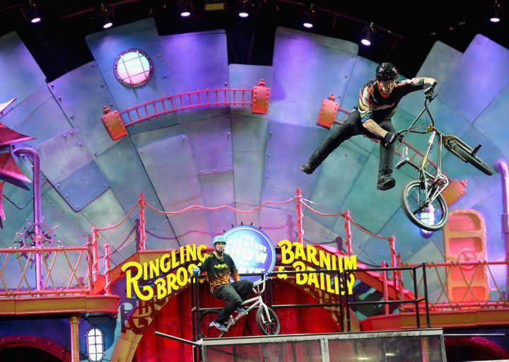 Death-defying bicycle stunts highlight a circus performance of the Ringling Bros. and Barnum & Bailey this week in Miami.