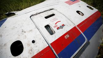 """A piece of the wreckage is seen at a crash site of the Malaysia Airlines Flight MH17 near the village of Petropavlivka (Petropavlovka), Donetsk region July 24, 2014.  The Dutch are due to announce on Wednesday 28 September the long-awaited results of an investigation with Australia, Malaysia, Belgium and Ukraine into the July 17, 2014 downing of the flight.   REUTERS/Maxim Zmeyev/File Photo          FROM THE FILES PACKAGE - SEARCH """"FILES MH17"""" FOR ALL 20 IMAGES"""