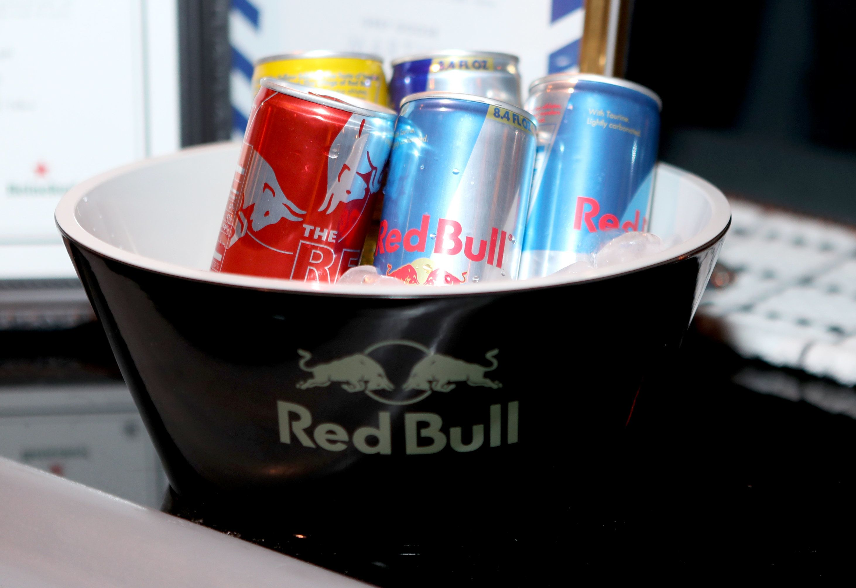 BEVERLY HILLS, CA - JANUARY 08:  An ice bucket full of Red Bull beverages is displayed at The Weinstein Company and Netflix Golden Globe Party, presented with FIJI Water, Grey Goose Vodka, Lindt Chocolate, and Moroccanoil at The Beverly Hilton Hotel on January 8, 2017 in Beverly Hills, California.  (Photo by Randy Shropshire/Getty Images for The Weinstein Company)