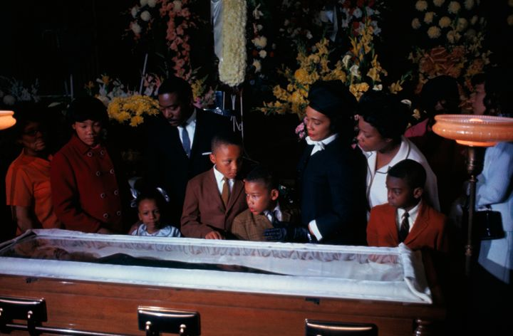 The family of slain civil rights leader Dr. Martin Luther King Jr. views his body as it lies in state at Sister's Chapel at S