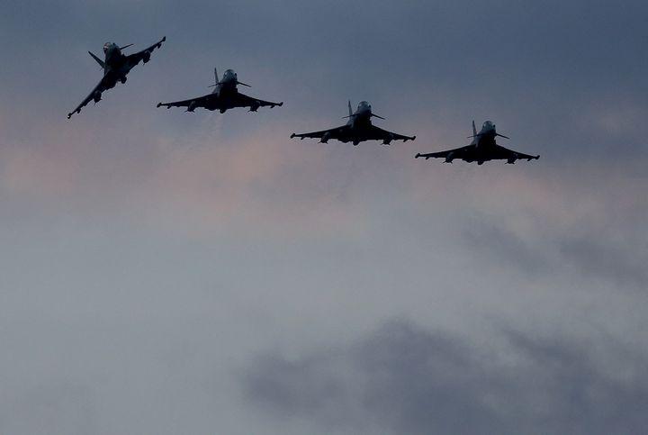 Four RAF Typhoons arrive at RAF Akrotiri on Dec. 3, 2015, in Akrotiri, Cyprus.
