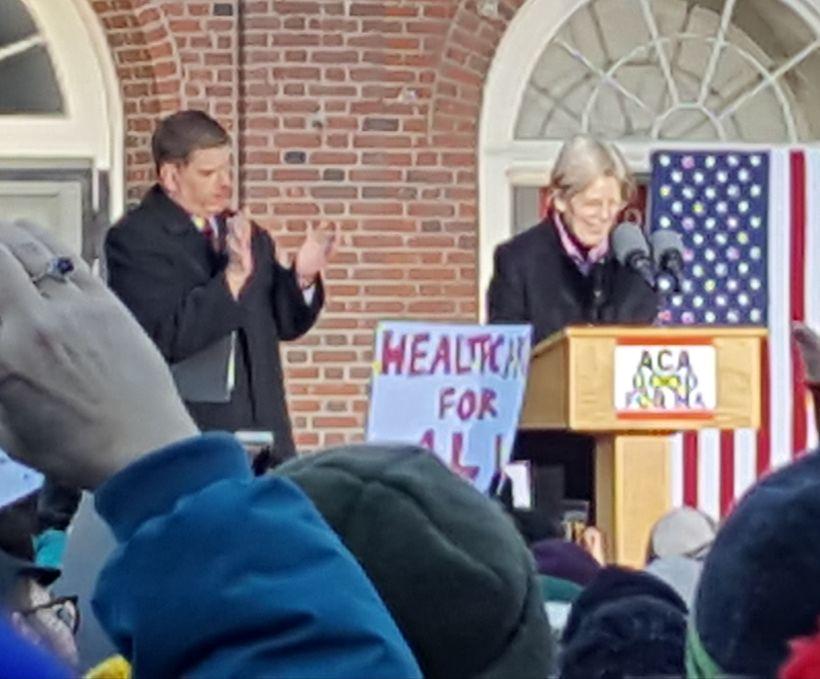 Boston Mayor Marty Walsh introduces Massachusetts Sen. Elizabeth Warren.