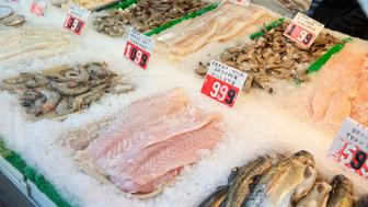 Seafood on ice at supermarket.