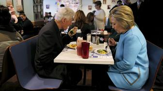 "U.S. Democratic presidential candidate Hillary Clinton and her husband, former U.S. President Bill Clinton eat breakfast at the Chez Vachon restaurant in Manchester, New Hampshire February 8, 2016.  REUTERS/Brian Snyder/File Photo                  FROM THE FILES PACKAGE ""THE CANDIDATES"" - SEARCH CANDIDATES FILES FOR ALL 90 IMAGES"