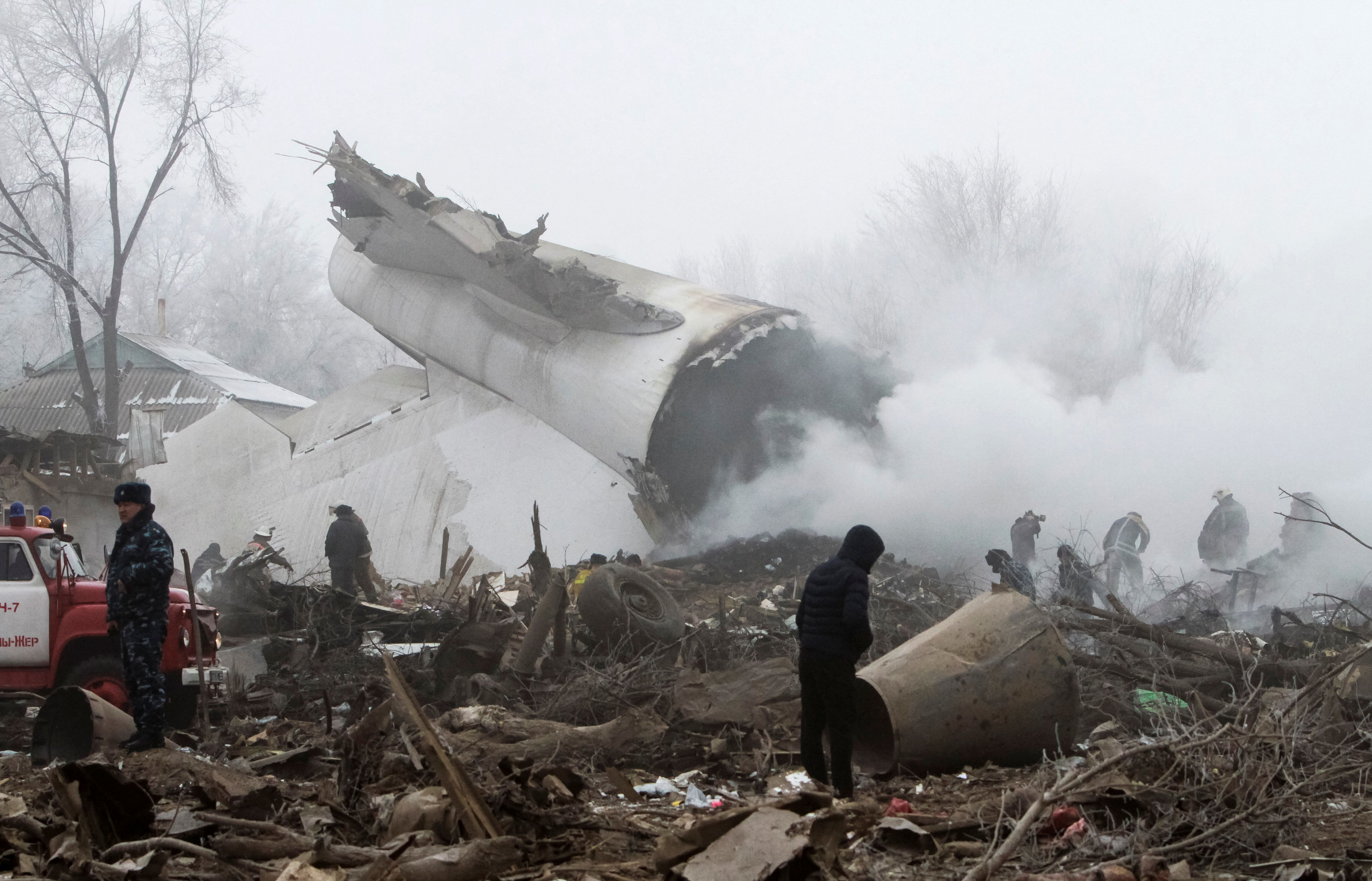 Rescue teams have reached the crash site of a Turkish cargo jet near Kyrgyzstan's Manas