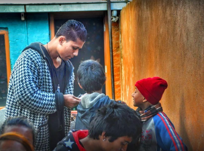 Sujan Pariyar with street children.