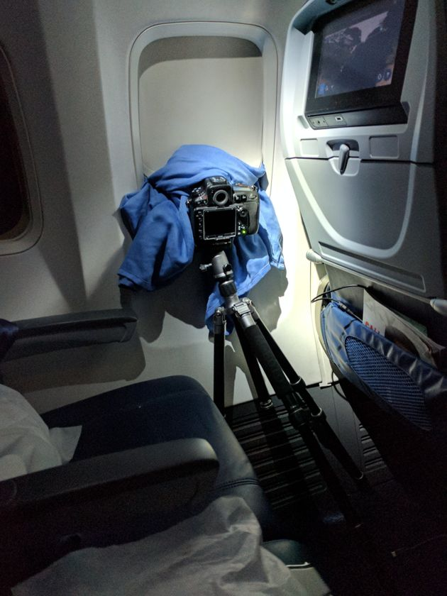 Man Has Row To Himself On Flight So Sets Up His Camera And Captures