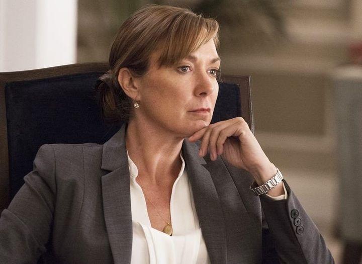 "Elizabeth Marvel asnewly elected POTUS Elizabeth Keane on ""Homeland."""