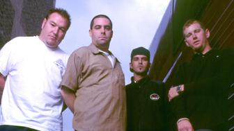 (L-R) Steve Harwell, Paul De Lisle, Greg Camp and Kevin Coleman of Smash Mouth on 8/30/97 in Chicago, IL. (Photo by Paul Natkin/WireImage)