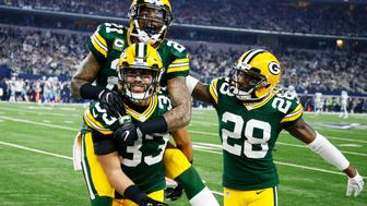 ARLINGTON, TX - JANUARY 15:  Micah Hyde #33, Ha Ha Clinton-Dix #21, and Josh Hawkins #28 of the Green Bay Packers celebrate in the second half during the NFC Divisional Playoff Game against the Dallas Cowboys at AT&T Stadium on January 15, 2017 in Arlington, Texas.  (Photo by Joe Robbins/Getty Images)