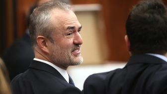 """Nick Denton, founder of Gawker, talks with his legal team before Terry Bollea, aka Hulk Hogan, testifies in court, in St Petersburg, Florida March 8, 2016. Hogan testified on Tuesday he no longer was """"the same person I was before"""" following personal setbacks and the humiliation suffered when the online news outlet Gawker posted a video of him having sex with a friend's wife.   REUTERS/Tampa Bay Times/John Pendygraft/Pool  MANDATORY NYPOST OUT"""
