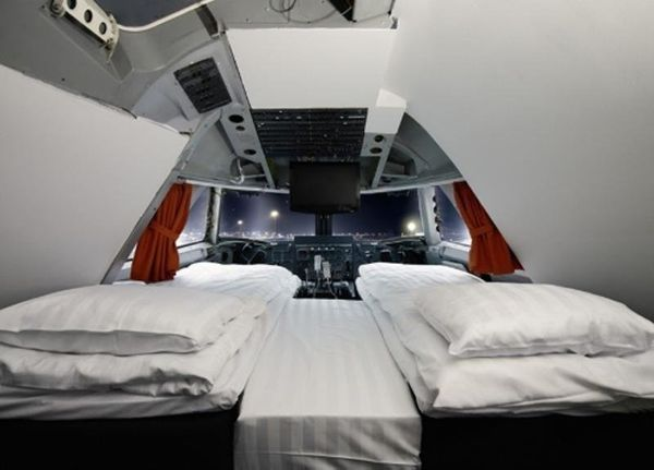 """Guests at Jumbo Stay spend the night inside a converted Boeing 747-200. The hostel boasts <a href=""""http://www.jumbostay.com/b"""