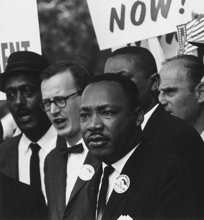 Civil Rights March on Washington, D.C. (Dr. Martin Luther King, Jr. and Mathew Ahmann in a crowd.) - NARA - 542015 - Restorat