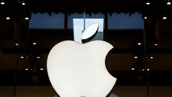 PARIS, FRANCE - DECEMBER 03:  The Apple logo is displayed on the facade of the new Apple store Saint-Germain during the first opening day on December 03, 2016 in Paris, France. This store employs 120 people and has an area of 1,300 m2, it is the largest in the capital and it is the first in France to embrace the new design codes chosen by Apple for its shops. Apple store Marche Saint-Germain is the third store in Paris, the 20th in France and the 110th in Europe andÊwill beÊthe 489th in the world.  (Photo by Chesnot/Getty Images)