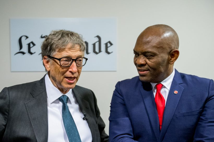 Tony Elumelu with Bill Gates at the Le Club de I'Economie in France, organized by leading French newspaper, Le Monde, October