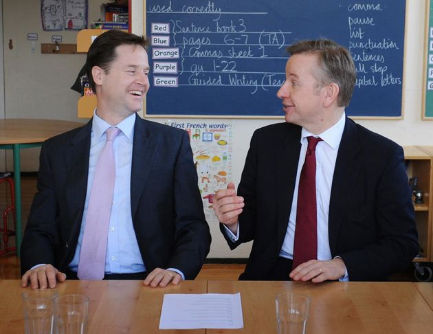 Nick Clegg and Michael Gove before the pair fell