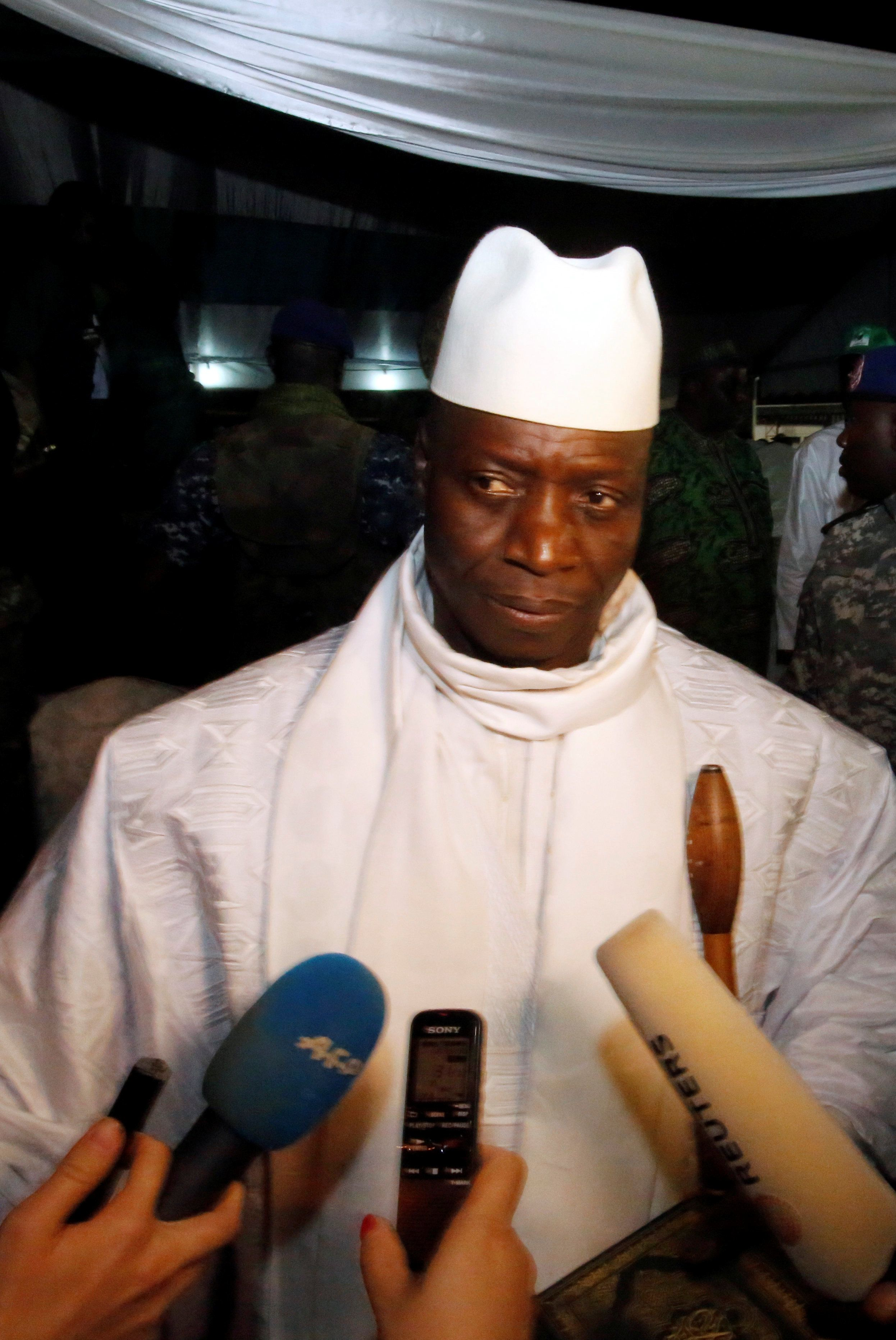 Gambia's President Yahya Jammeh, who is also a presidential candidate for the Alliance for Patriotic Reorientation and Construction (APRC) is seen during an interview aftera a rally in Banjul, Gambia November 29, 2016. Picture taken November 29, 2016. REUTERS/ Thierry Gouegnon.