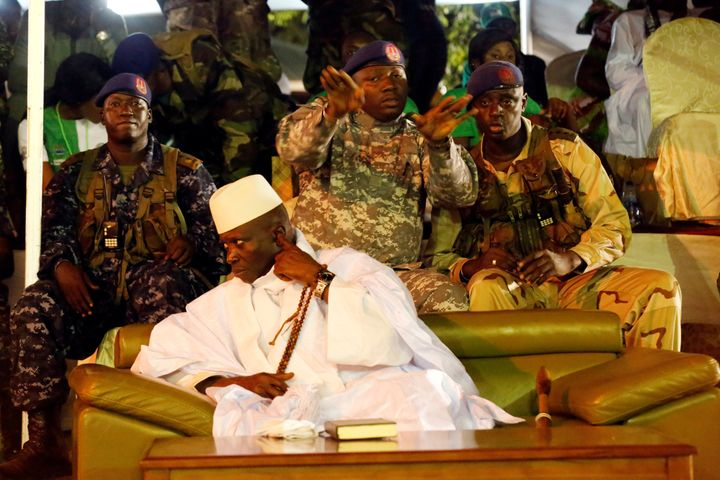 Gambian President Yahya Jammeh attends a rally in Banjul, Gambia, on Nov. 29, 2016. After losing the presidential election on