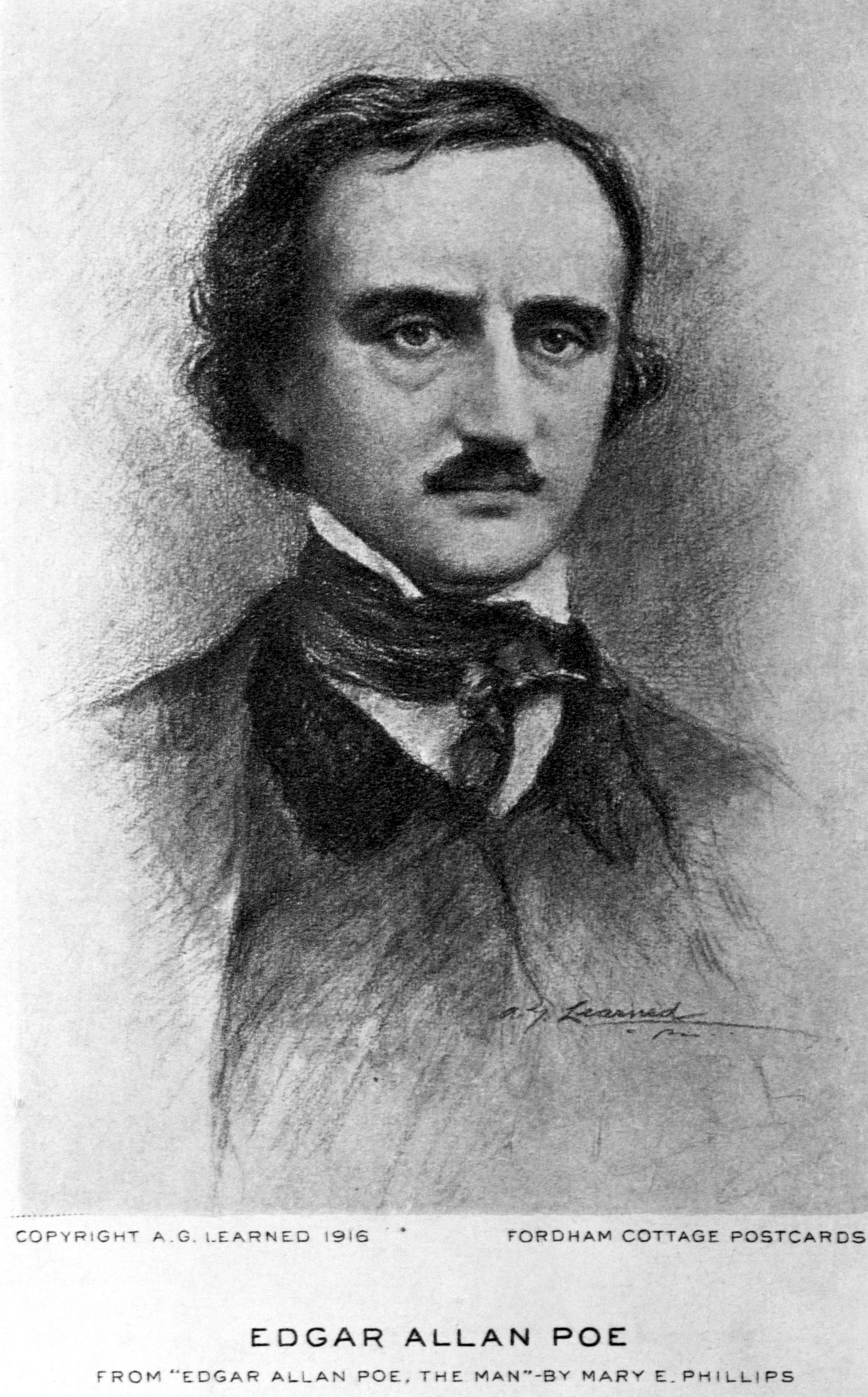 This illustration was published in the book Edgar Allen Poe - The Man by Mary E. Phillips