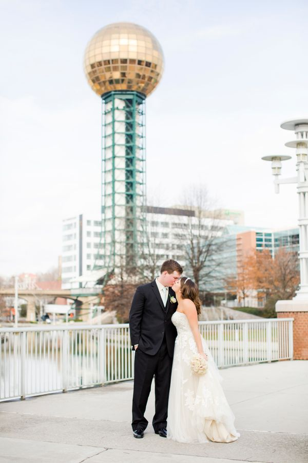 """A gorgeous couple in front of Knoxville's iconic backdrop!"" -- <i>Lisa Price</i>"