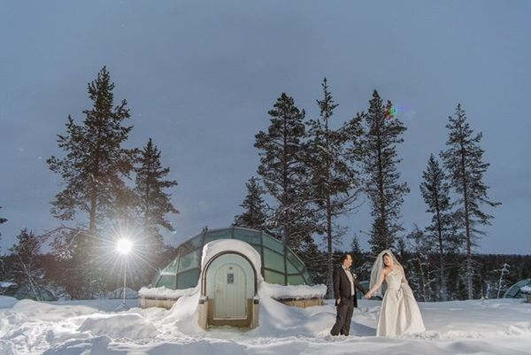 """Kavoos and Diana at Kakslauttanen Igloo Resort in Lappish-Finland."" -- <i>Ann Peters </i>"