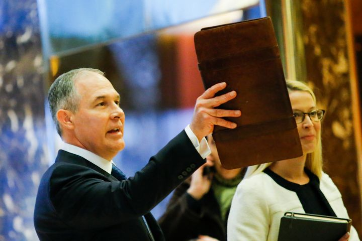 Pruitt arrives for meetings at Trump Tower in New York.