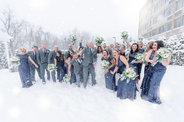 """Some fabulous snowy wedding photos we captured with Brittany and Joe at the Sterling Ballroom in Tinton Falls, New Jersey in"