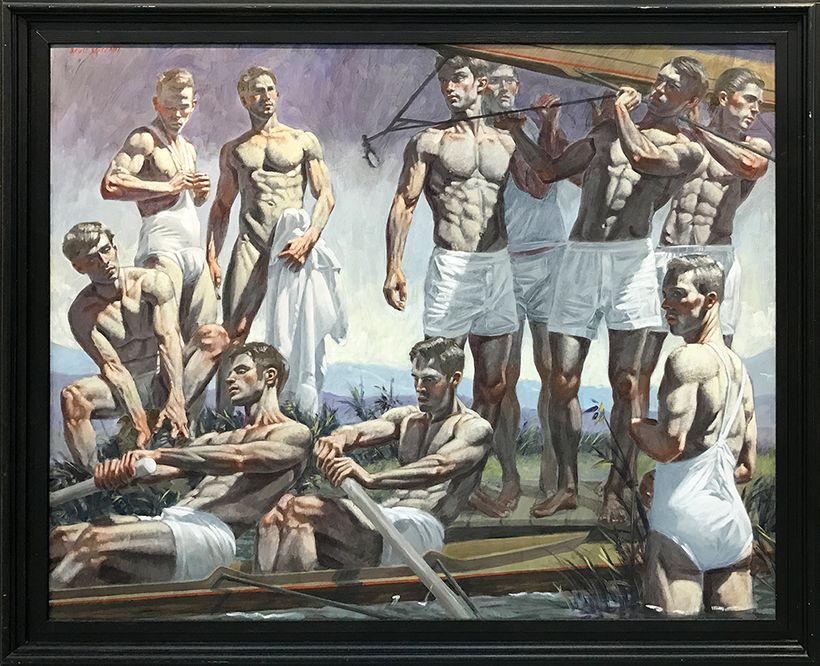 """Image: © Mark Beard [Bruce Sargeant (1989-1938)], """"Rowing Team,"""" n.d., Oil on canvas, 48 x 60 inches, Courtesy of ClampArt, N"""