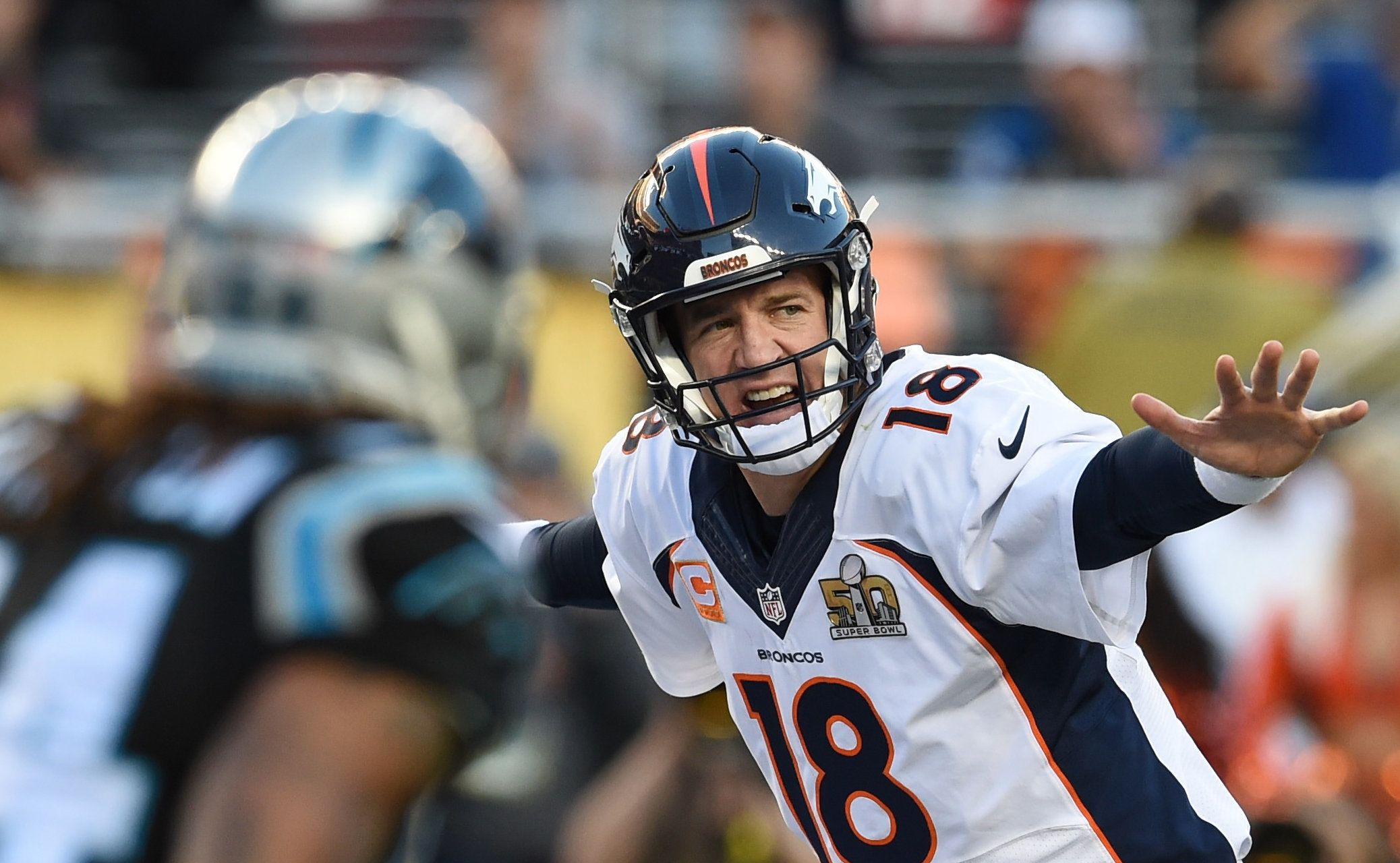 Quarterback Peyton Manning of Denver Broncos calls the play during Super Bowl 50 against the Carolina Panthers at Levi's Stadium in Santa Clara, California, on February 7, 2016. / AFP / TIMOTHY A. CLARY        (Photo credit should read TIMOTHY A. CLARY/AFP/Getty Images)