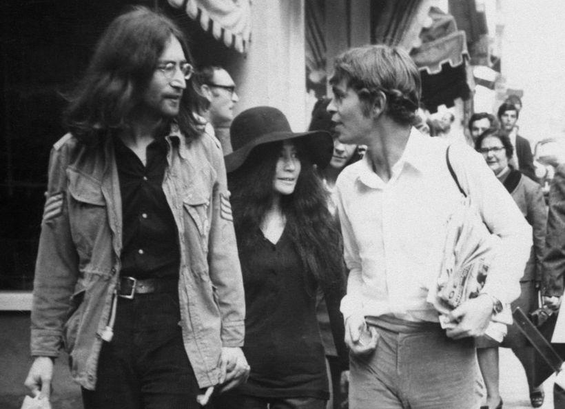 "Yanni ""Magic Alex"" Mardas (right) with John Lennon and Yoko Ono"