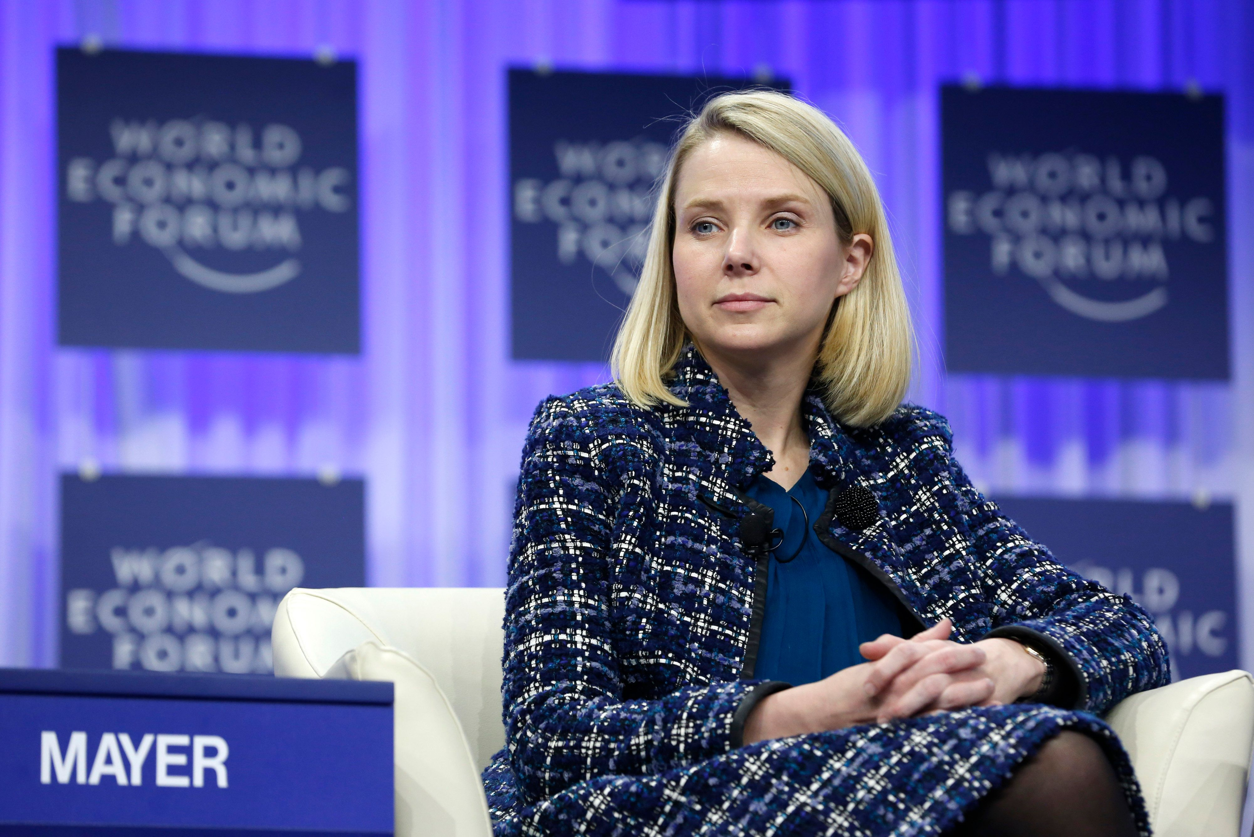 Marissa Mayer, chief executive officer of Yahoo! Inc., pauses during a panel session on day four of the World Economic Forum (WEF) in Davos, Switzerland, on Saturday, Jan. 25, 2014. World leaders, influential executives, bankers and policy makers attend the 44th annual meeting of the World Economic Forum in Davos, the five day event runs from Jan. 22-25. Photographer: Jason Alden/Bloomberg via Getty Images