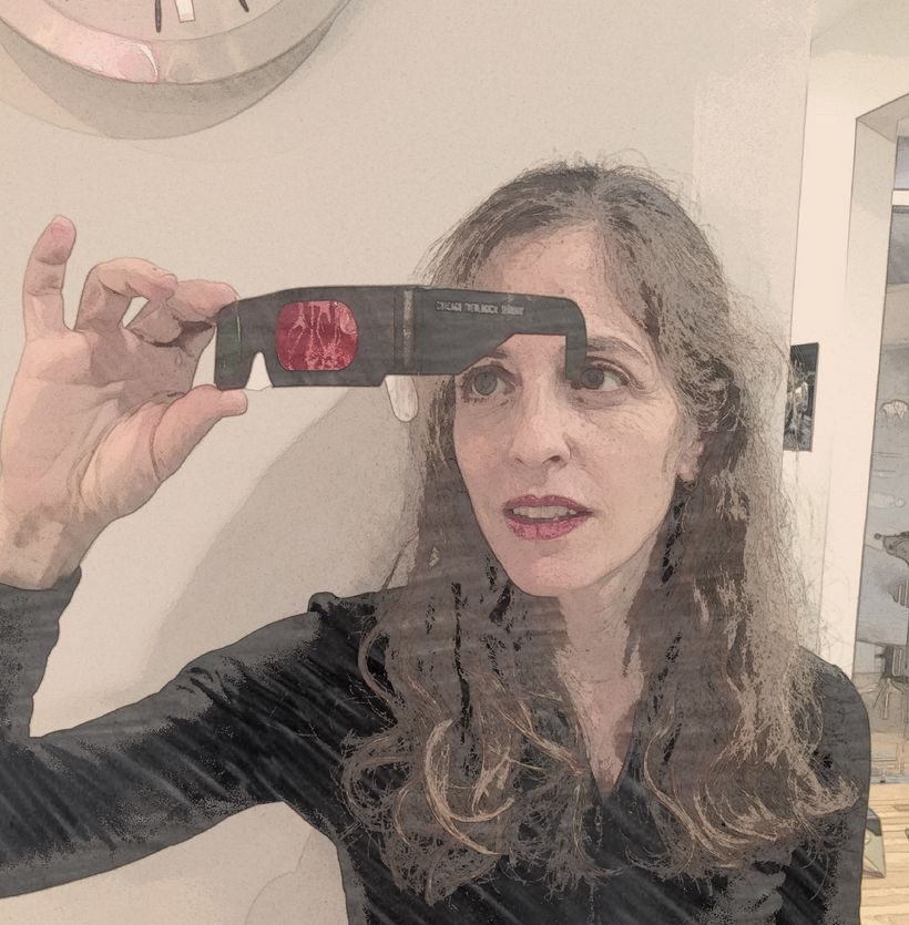 "<em>* photograph of the author putting on her Chicago Theological Seminary ""White Privilege Glasses""</em>"