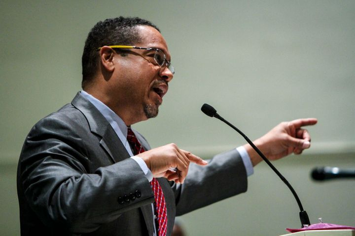 Rep. Keith Ellison (D-Minn.), seen here at a town hall in Detroit in December, announced his plans to skip inauguration on Mo
