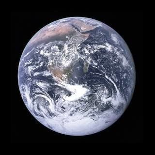 "Cernan's crew captured this iconic ""blue marble"" shot of the Earth en route to the moon."