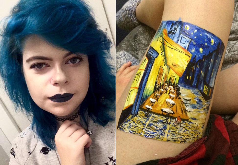 Teen Recreates Van Gogh Painting On Her Leg Instead Of