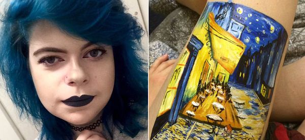 Teen Creates Stunning Painting On Her Leg Instead Of Self-Harming