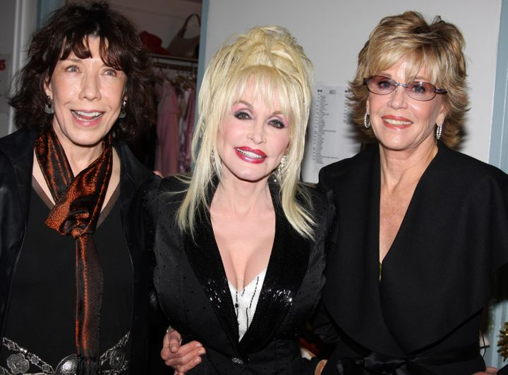 "Tomlin, Parton and Fonda pose backstage at the Los Angeles premiere of Parton's ""9 to 5"" stage musical in 2"