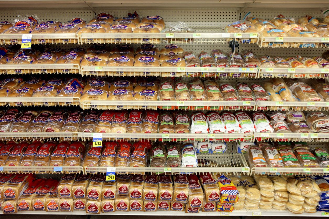 The bread aisle of an Iowa grocery store.