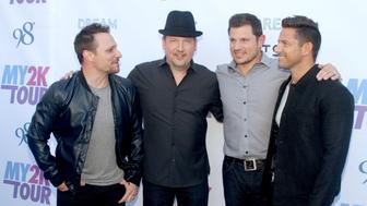 LOS ANGELES, CA - APRIL 26:  Drew Lachey,Justin Jeffre Nick Lachey and Jeff Timmons of 98 Degrees attend the My2k Tour Launch With 98 Degrees, O-Town, Dream And Ryan Cabreraat at Faculty on April 26, 2016 in Los Angeles, California.  (Photo by Matthew Simmons/Getty Images)