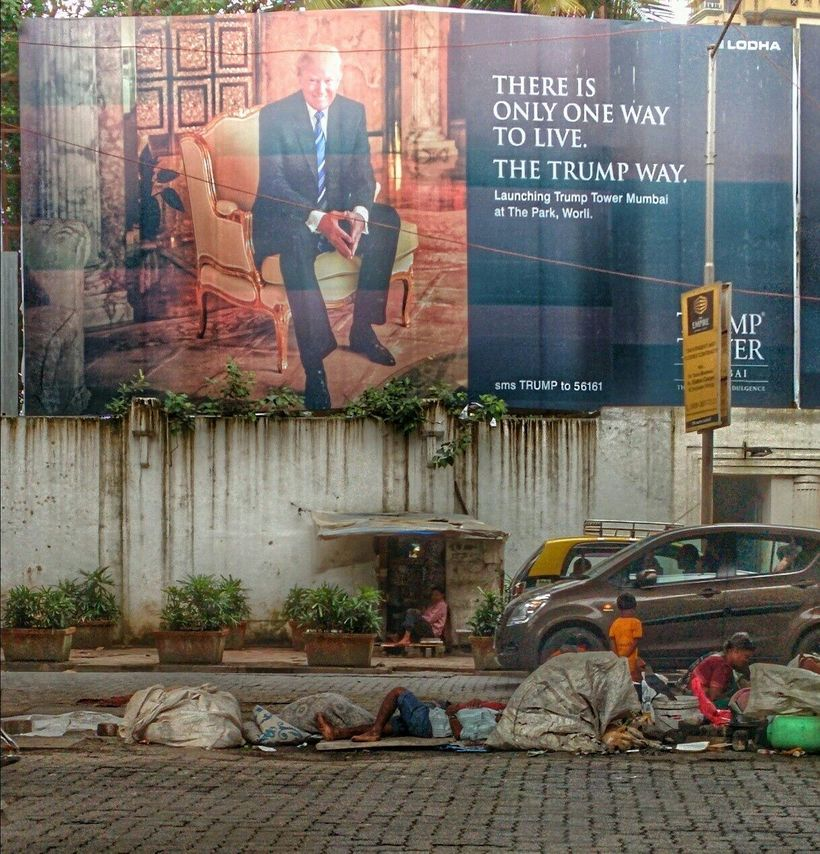 """Trump towers over street kids in Mumbai, India by <a rel=""""nofollow"""" href=""""https://www.facebook.com/photo.php?fbid=10152646313"""