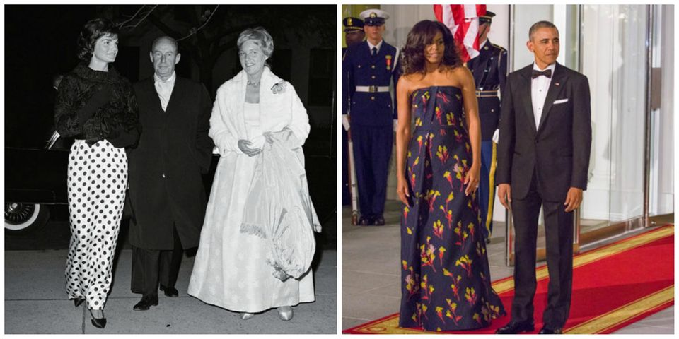 L: Jackie Kennedy at the opera in 1961, R: Michelle and Barack Obama at a State dinner with Canada in 2016
